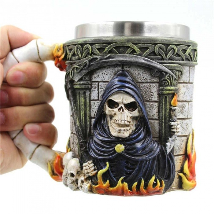 ZHAOYAO Creative 350ml 3D Stereo Stainless Steel Ghost Head MugเธƒเธŒ Skull Death CupเธƒเธŒ Coffee Travel Canecas Mug for Party