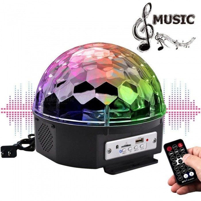 YouOKLight 9-Color LED Music Crystal Magic Ball Light, MP3 USB Bluetooth Disco DJ Stage Light w/ Remote Control - US Plug - Free Shipping - DealExtreme