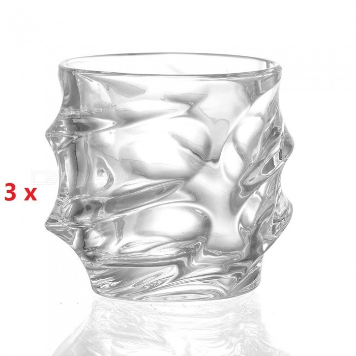 ZHAOYAO Bling Diamond Crystal Wine GlassเธƒเธŒ Lead-free High Capacity Whiskey Vodka Beer Drinking Cup (3 PCS)