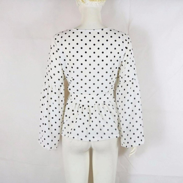 Black And White Polka Dot Blouses Women Elegant V Neck Flare Long Sleeve Chiffon Blouses Ladies Bow Tie