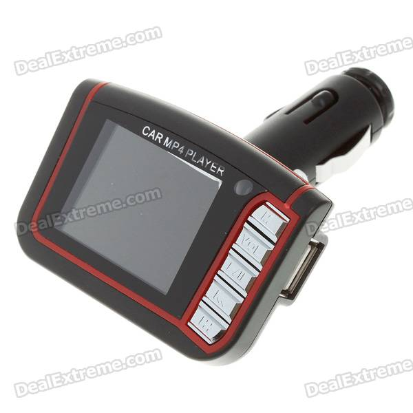 1.8 LCD Car MP3/MP4 Player FM Transmitter with Remote Controller - Red (SD/MMC/Mini USB)