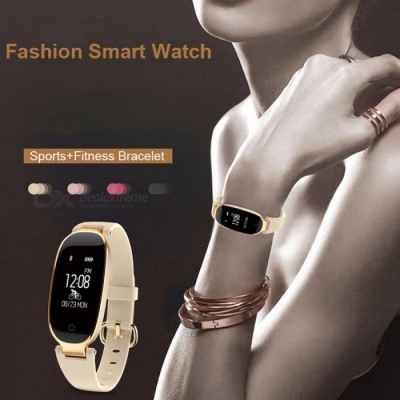 S3 Bluetooth Waterproof Smart Watch Fashion Women Ladies Heart Rate Monitor Fitness Tracker Smartwatch For Android IOS Gold
