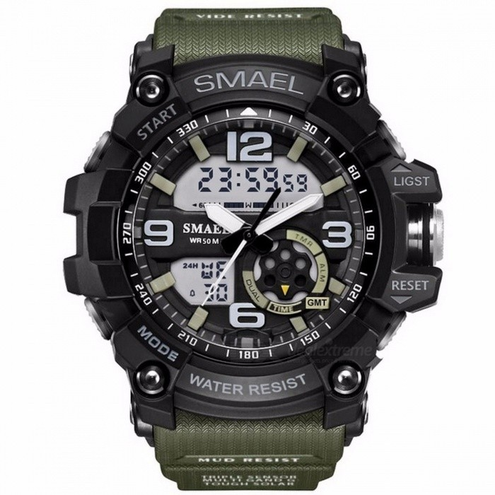 SMAEL Analog-Digital Watch Men Sports 50M Professional Waterproof Quartz  Large Dial Hours Military Wristwatches Green 5be476867d9f