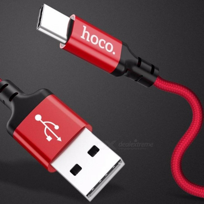 HOCO Nylon Braided Charging Data Cable Aluminum Alloy 2A Fast Charge Type-c Cable