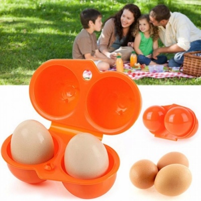 Portable Kitchen Convenient Container Egg Storage Box Container Hiking Outdoor Camping Carrier For 2 Egg Case Box Multi