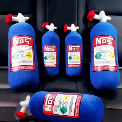 NOS Auto Nitrous Car Cushion Seat Cover Nitrogen Gas Bottle Style Cushion Neck Rest Pillow Bolster Headrest Support Blue