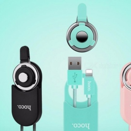 HOCO U21 Stylish USB Cable For IPhone Charging Data Cables Lanyard Hand Neck Strap Phone Ring Pendant Keychain Pink