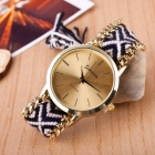 Fashion Casual The New National Style Woven Women Bracelet Watches DIY Hand-Woven Wool Ladies Watch Metal Case Purple