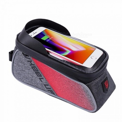 WHEEL UP Touch Screen Front Top Tube Bicycle Bags Rainproof MTB Road Cycling Bags 6.0 Inch Cell Phone Cases Light Grey