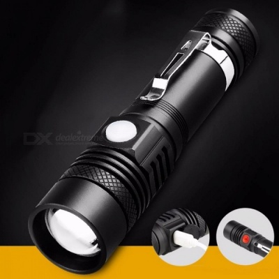 Outdoor Aluminum Alloy Zooming LED Flashlight Ultrabright USB Rechargeable Torch Portbale Flashlights Black