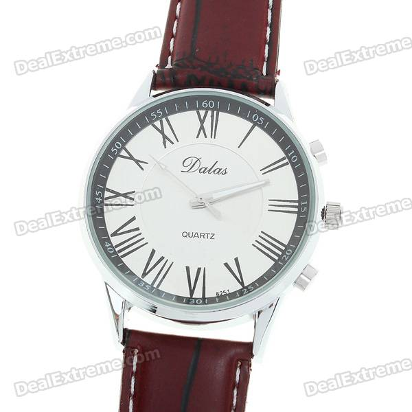 Stylish Leather Wristband + Alloy Dial Wrist Watch with Night Lights - Scarlet + Silver (1*377)
