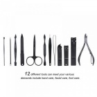 12pcs Stainless Steel Manicure Kit Nail Clipper Plier Tweezer Scissor Ear Pick Set Professional Grooming Kit Black