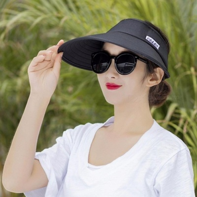 New Summer Sun Visor Ladies Outdoor Folding Large UV Protection Top Hat Sky Blue/One Size