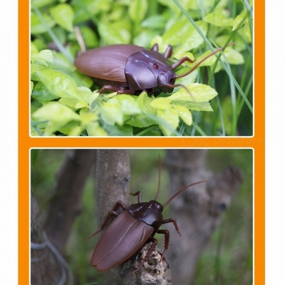 Top IR Infrared Remote Control Mock Fake Cockroaches Crawling RC Toy For Kids Brown