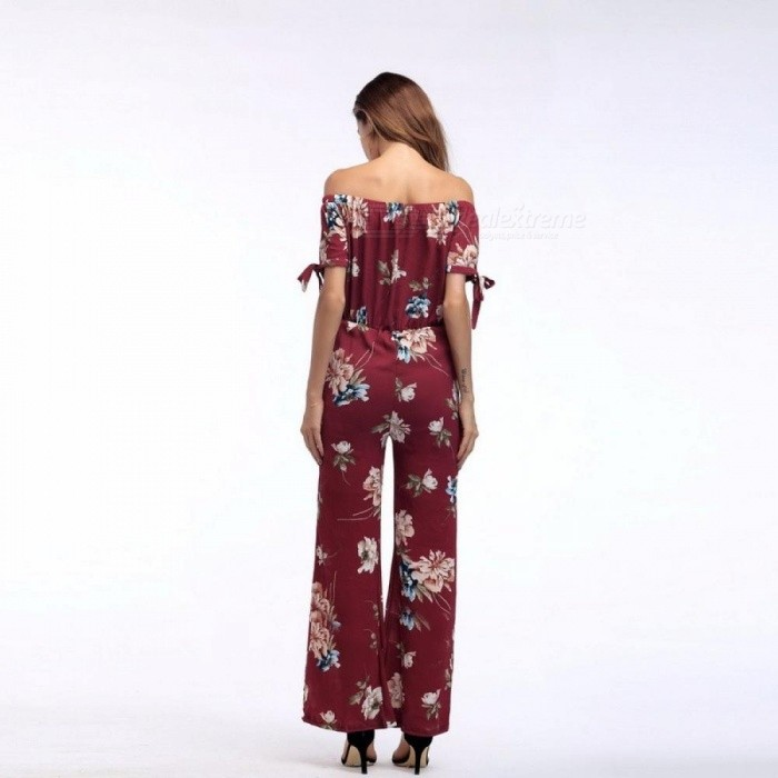 Strapless Short Sleeve Jumpsuit Sexy Floral Print Rompers Womens Jumpsuit Long Trousers Pants