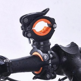 Bike 360 Degree Rotation Cycling Bicycle Flashlight Torch Mount LED Head Front Light Holder Clip Bicycle Accessories Orange