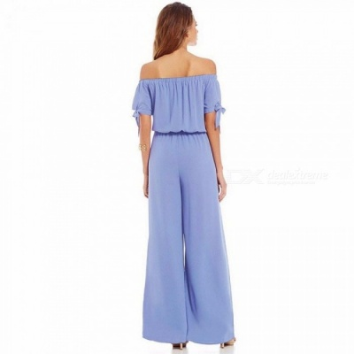 Spring Summer Casual New Floral Strapless Short Sleeve Chiffon Jumpsuit Fashion Women\'s Solid Color Jumpsuit Trouses Red/S