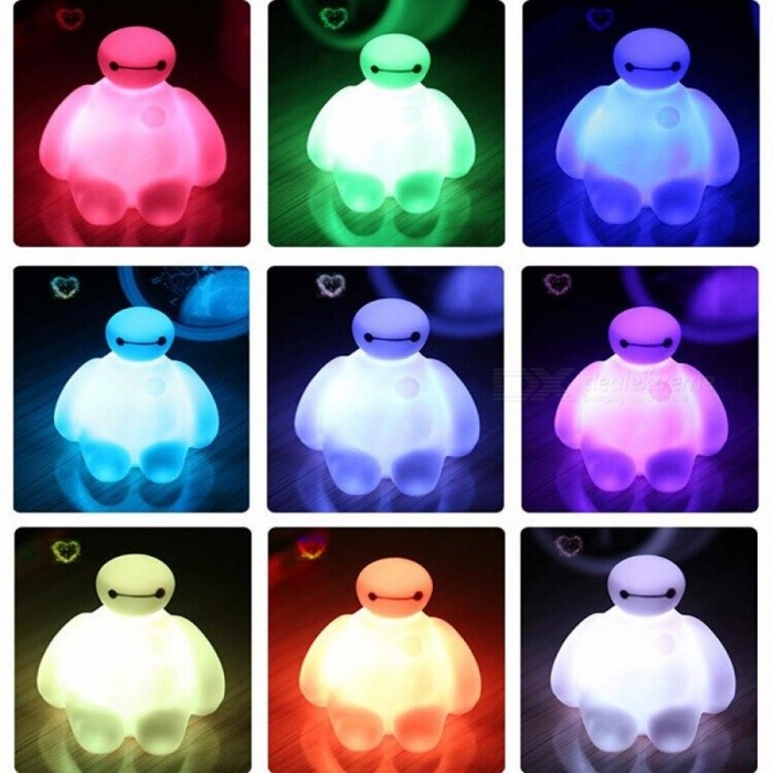 Creative 7 Color Changing Big Hero 6 BayMax LED Night Light Bedroom Decoration Table Lamp Amazing Children Kids Gift