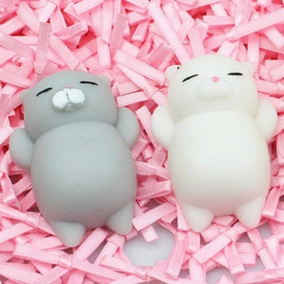 Antistress Ball Mini Squeeze Toy Cat Cute Kawaii Doll Gift Squishy Cat Healing Vent Ball Vent Halloween Jokes Toys White