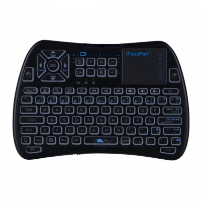 iPazzPort Mini 2.4GHz Wireless Keyboard with Touchpad - Black