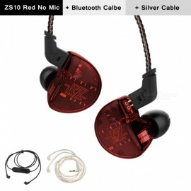 KZ ZS10 3.5mm Wired 5 Drive Unit In-Ear Earphone, HIFI DJ Monito Running Sport Earbuds with Silver Wire + Bluetooth Cable - Red
