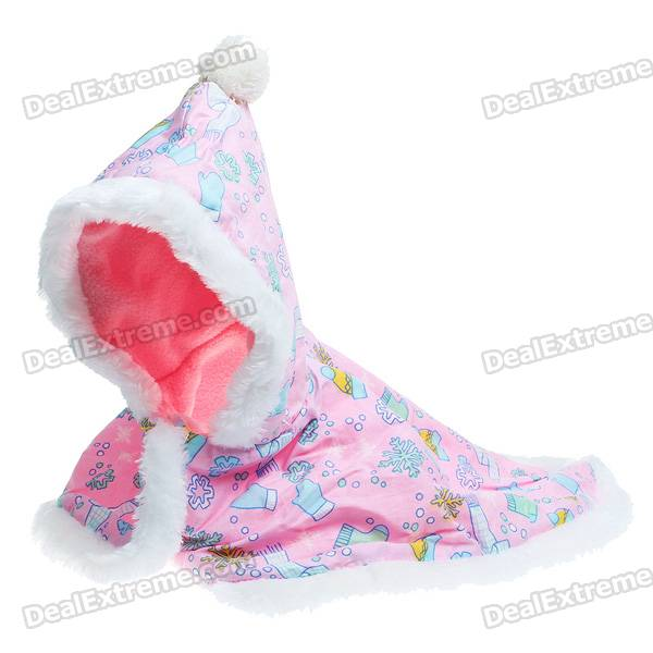 Cute Christmas Style Pet Cloak Dog Apparel with Hat - Color Assorted (Size M)
