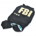 Cool FBI Style Warm Coat Dog Apparel Pet Clothes 4-Leg Holes - Random Color (Size L)