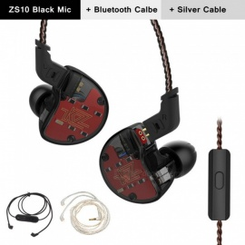 KZ ZS10 3.5mm Wired 5 Drive Unit In-Ear Earphone, HIFI Running Sport Earbuds with Mic / Silver Upgrade Wire + Bluetooth Wire