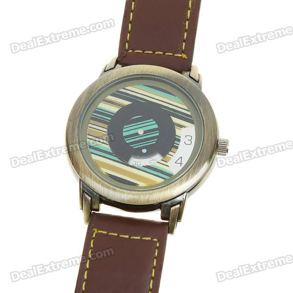 Stylish PU Leather Wristband + Metal Dial Quartz Wrist Watch - Brown (1*377)