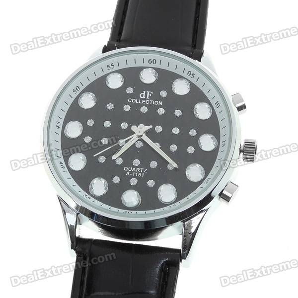 Stylish PU Leather Wristband + Crystal Decoration Metal Dial Wrist Watch - Black (1*377)