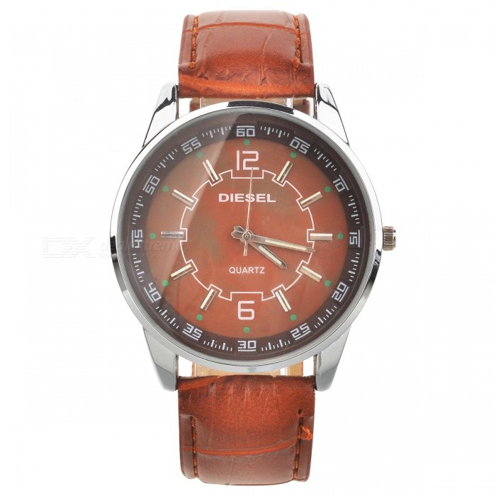 Stylish PU Leather Wristband + Metal Dial Wrist Watch with Night Lights - Brown (1*377) - DXLeather Strap Watches<br>Material: PU leather wristband + metal dial - Dial diameter: 4.4cm - With night lights of the pointer - With 2 decorative buttons - Water resistant (not for diving or swimming) - Powered by 1*377 battery (included)<br>