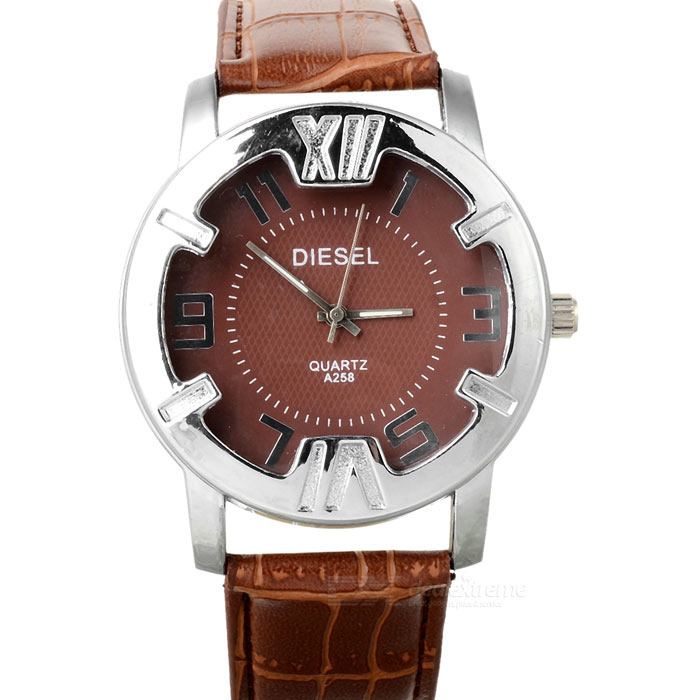 Stylish PU Leather Wristband + Metal Dial Quartz Watch with Night Lights - Brown (1*377)