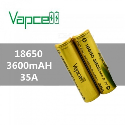VAPCELL 18650 3600mAh 3.7V Rechargeable High Capacity Lithium Battery, Continuous 35A (2 PCS)