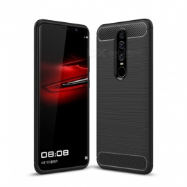 Dayspirit Wire Drawing Carbon Fiber TPU Back Case for Huawei Mate RS Porsche Design - Black
