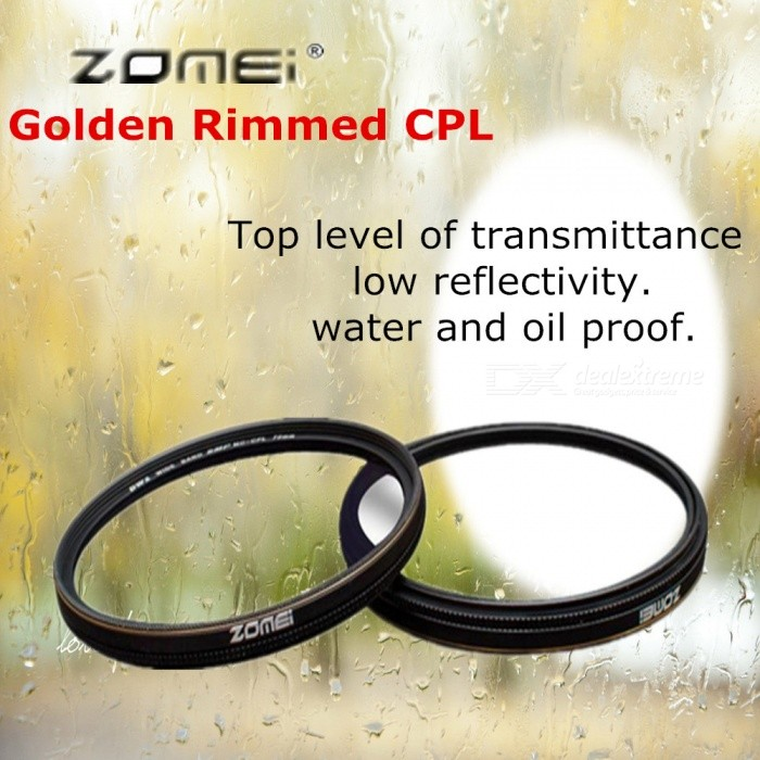 ZOMEI Circular Filter Golden Rimmed Polarizer CPL Optical Camera Lens Caliber 72mm