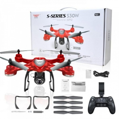 S30W Double GPS Dynamic Follow WIFI FPV With 720P Wide Angle Camera RC Drone Quadcopter Racing VS MJX Bugs6 Red