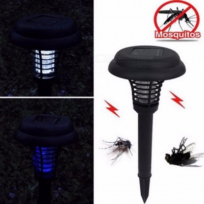 Solar Powered Outdoor Park Garden Lawn Anti Mosquito Insect Pest Bug Zapper Killer Trapping Lantern Decor Lamp Light Black