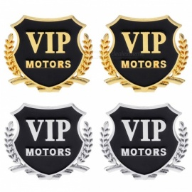 2Pcs Car VIP Pattern Medal Shape 3D Carved Metal Stickers, Car Body External Decals Accessories Silver