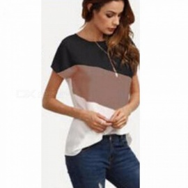 Summer Fashion Women T Shirts Mixed Color Stylish Short Sleeves Top Tee Clothes Female Clothing Pink/XL