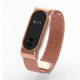 Metal Bracelet Bangle Portable Without Screw Stainless Replace for Xiaomi Mi Band 2 - Rose Gold