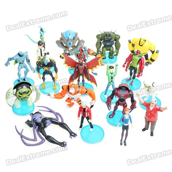 Set of 19 Ben 10 Figure Toys with 12 Bases - Style/Color Assorted kuroko s basketball kuroko no basuke mini pvc figure toys with keychain 9pcs set kbfg012