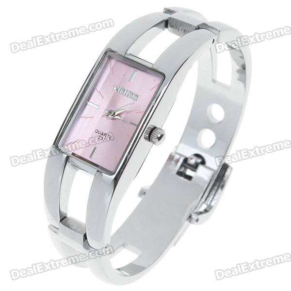 Stylish Bracelet Style Quartz Wrist Watch - Pink + Silver (1*377)