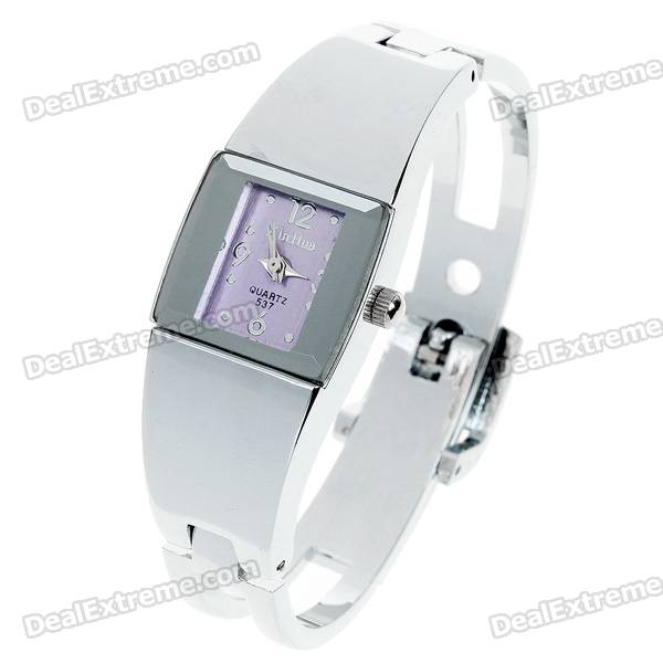 Stylish Bracelet Style Wrist Watch - Purple + Silver (1*377)