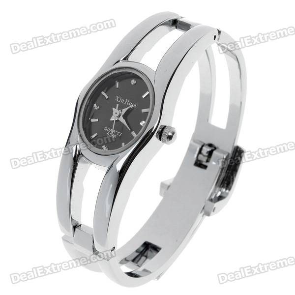 Stylish Bracelet Style Quartz Wrist Watch - Black + Silver (1*377) stylish bracelet band quartz wrist watch golden silver 1 x 377