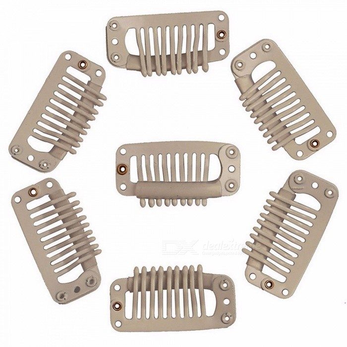 32mm 9 Teeth Hair Extension Clips Snap Metal Clips For Clip In Human