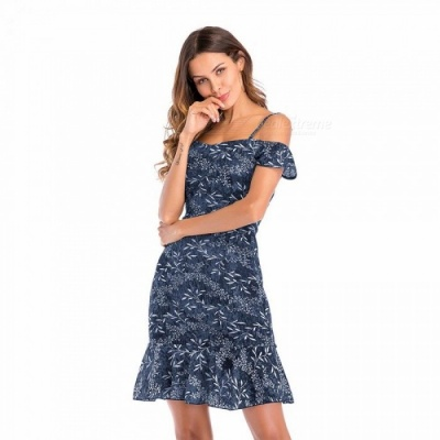 Summer New Women Chiffon Strapless Floral Suspenders Lotus Leaf Swing Dress Pleated Black Casual Good Quality Blue/XL