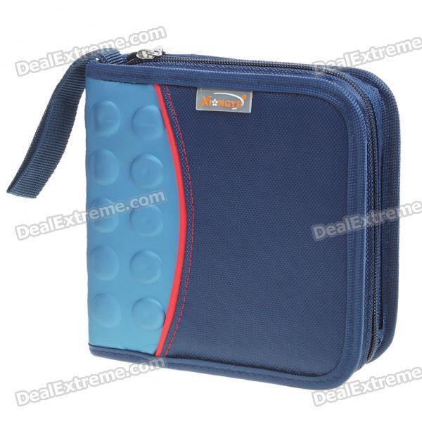 Portable 160D Nylon Cloth CD Storage Bag Box - Blue (Holds 40-CD)