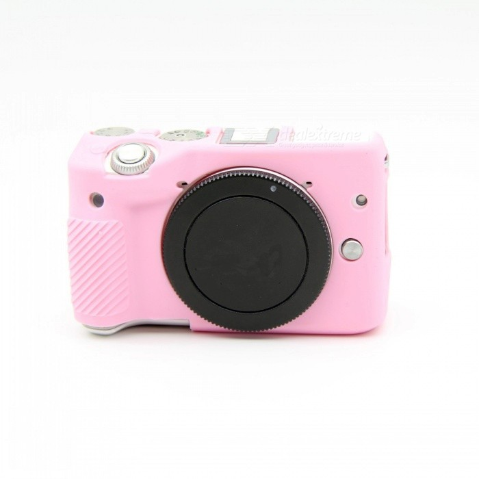 JEDX Soft Silicone Protective Case for Canon EOS M3 18 55mm Pink