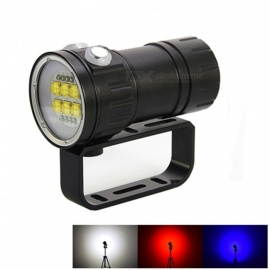 ZHAOYAO 3-Mode 80m Diving Underwater Flashlight, 6 x XHP-70 + 4 x Red + 4 x Blue 21000LM LED Light Tactical Flashlight