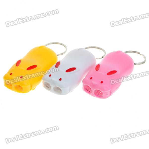 Mini Cute Rabbit Style White 2-LED Light Torchs with Keychain (3*LR41/3-Pack)